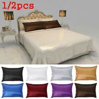 Pcs Soft Bedding Standard Throws Cushion Cover Home Decor Satin Silk Pillowcase