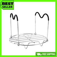 Steamer Rack Trivet with Heat Resistant Silicone Handles Stainless Steel Stand