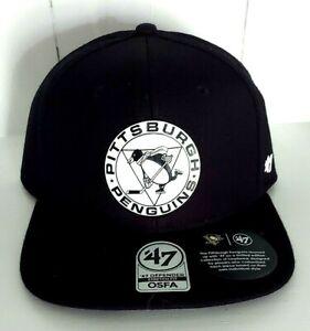 Pittsburgh Penguins '47 Brand Defender Stretch Fit Black Cap NHL Logo OSFA New