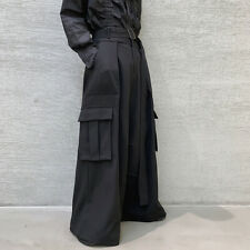 Mens High Waisted Wide Leg Pants Loose Gothic Pocket Kendo Hakama Trousers Black