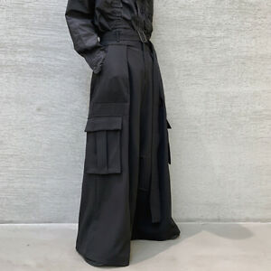 Mens High Waisted Wide Leg Pants Loose Gothic Pocket Kendo Hakama Trousers Black