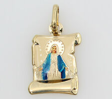 14K Real Yellow Gold Blessed Virgin Mary Miraculous Enamel Pendant Milagrosa