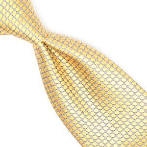 Ermenegildo Zegna Selvedge Mens Silk Necktie Gold Silver Textured Dot Woven Tie