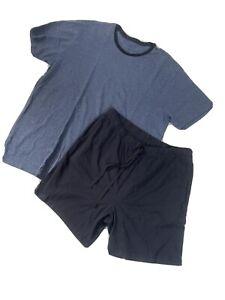 Herren Pyjama Sommer Schlafanzug Kurz 2-Teilig T-Shirt & Shorts  Blau Gr.XL Blau