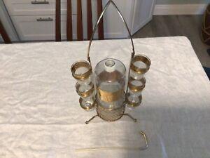 MCM Vintage Culver Tyrol Starlyte Barware Set Shot Glasses Decanter Carrier NR