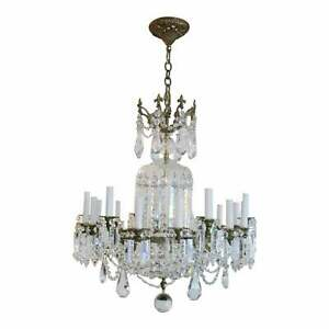 Huge Bronze and Crystal Empire Style 24 Light Chandelier circa 1940s