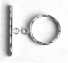 ONE STERLING SILVER 925 PATTERNED TOGGLE CLASP SET, MEDIUM SIZE, 14 X 24 MM