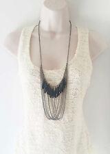 "Gorgeous 26"" long black hematite draped - layered chain & bead necklace"