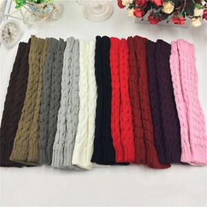 Womens Leg Warmers Crochet Knit Ribbed Knee High Solid Winter Boot  Long Socks