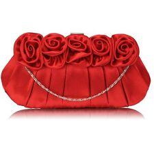 red satin CLUTCH BAG flower chain 287 purse WEDDING EVENING