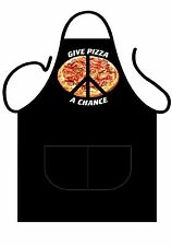 "MENS,WOMENS,UNISEX,BLACK PRINTED NOVELTY APRON ""GIVE PIZZA A CHANCE"" AS ADULT"