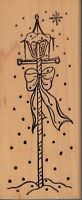 """snowy lamp post unbranded Wood Mounted Rubber Stamp  5 1/2 x 2""""  Free Shipping"""