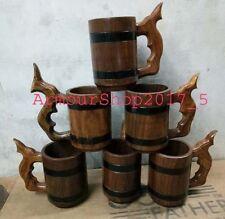 Wooden Beer Mug Tankard With 500 ml Wood Cup Gift set off six mug