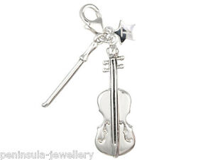 Sterling Silver Charm Tingle clip on Cello and Bow with Gift Box and Bag SCH40
