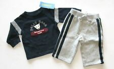 Gymboree boy snowboarder navy polar bear top shirt gray sweatpants pants 3-6 mo