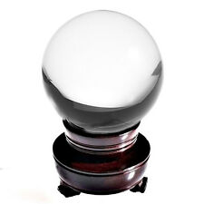 Clear Crystal Ball Sphere 110mm 4.2 in With Wooden Stand & Gift Box USA Seller