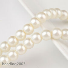 140pcs/strand 6mm Glass Faux Pearl Round Loose Spacer Bead Craft Jewelry Making
