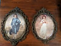 """Two Pairs of Ornate Brass Oval 13"""" Wall Hanging Artmark Italy Boy Girl"""