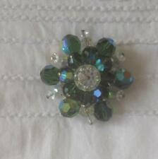 VINTAGE 1960S GREEN & CLEAR FACETED GLASS AB CRYSTALS BROOCH