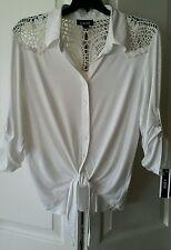A. Byer Womens Top/Blouse Sz L Ivory Rayon/Spandex Button-up w/Collar