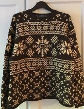 MENS J. CREW WOOL HOLIDAY WINTER SKI SWEATER SZ. MEDIUM BRN W/TAN SNOWFLAKES VTG