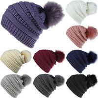 Women Bobble Pompom Beanie Winter Knitted Slouch Warm Cap Faux Fur Crochet Hat