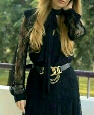 ZARA WOMAN LIMITED EDITION CAMPAIGN BLACK LACE BOW BLOGGERS MAXI DRESS S 8 10 12