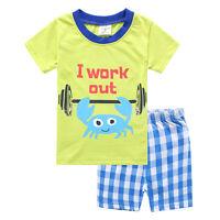 Kids Boys Cartoon Summer Pajamas  Sets Nightwear Sleepwear T-shirt Plaid Shorts