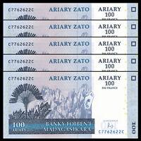 Lot 5 PCS, Madagascar 100 Ariary,2004(2016), P-86 New sign, UNC Banknote