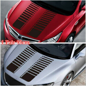 2Pcs 95cm Matte Black Racing Stripe Vinyl Decor Decal Car Hood Bonnet Sticker