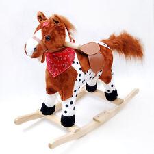 Kids Plush wooden rocking horse Singing tail wagging light & sound saddle