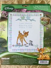 "Disney Baby Bambi Birth Announcement Cross Stitch Kit 12""x13"" New Janlynn"