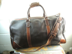"""ROOTS Dark Brown Leather 19"""" Duffel/Weekend Travel Bag Made in CANADA"""