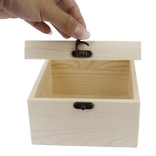 Wood Lockable Plain Jewelry Container Storage Box Case Treasure Chest Craft