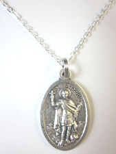 """St  Espedito ( Expedite ) Medal Italy Necklace 20"""" Chain Gift Box & Prayer Card"""
