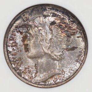 1943-D 10C NGC MS67 FB Silver Mercury Dime Old Green Fatty Holder