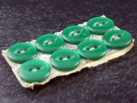 Vintage Button Set of 8 Green Plastic Buttons - 14 mm (5/8 inch) diameter