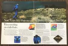 1990 Gore-Tex Outerwear Print Ad Guaranteed to Keep You Dry 2 Pages