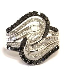 925 sterling silver 1.02ct black white diamond cluster ring 4.3g fashion