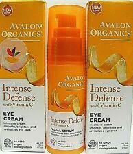 Avalon Organics Intense Defense (2) 1oz EYE CREAM & (1) 1oz FACIAL SERUM