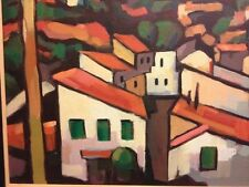 Modern original oil expressionist painting rooftops houses