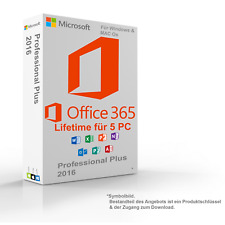 MS Microsoft Office 2016 365 Lifetime for 5 PC für Windows & MAC OS 64/32-Bit