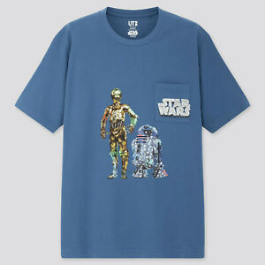 UNIQLO UT STAR WARS FOREVER Stash C-3PO R2-D2 Blue Pocket Tee T-Shirt M NWT