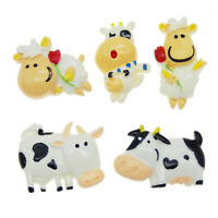 2-3cm Cartoon Resin Dairy Cows Mixed Flat Back Craft Phone Case Decors 10 Pack