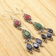 """50 100 PACKS ! Silver Plated Simulated RUBY, EMERALD & SAPPHIRE Earrings 2 5/8"""""""