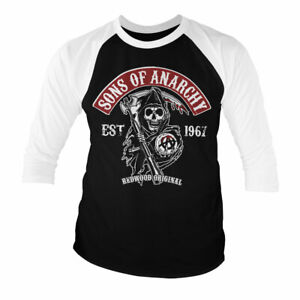 Sons Of Anarchy SOA Redwood Red Patch Baseball 3/4 Sleeve T-Shirt