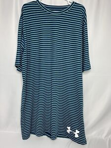 Under Armour T Shirt Short Sleeves Striped Green And Blue Mens 2XLT