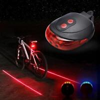 Bicycle Red Laser Beam Rear Light Warning LED Taillight Safety Signal Bike Light