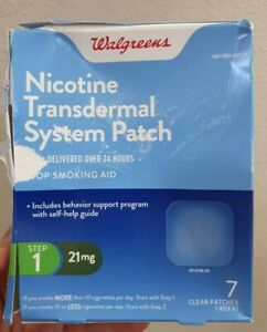 Walgreens Nicotine Transdermal System 21mg 7 Patch/Step 1 Exp Date 03/2021