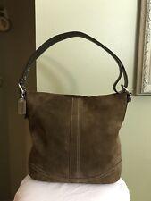 COACH Medium Signature Brown Suede Hobo Cross Body Satchel Slouch Purse Bag